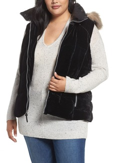 Andrew Marc Down Velvet Vest with Faux Fur Trim (Plus Size)