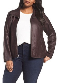 Andrew Marc Fabian Leather Moto Jacket (Plus Size)