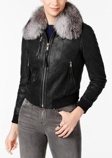 Andrew Marc Fox-Fur Collar Leather Moto Jacket