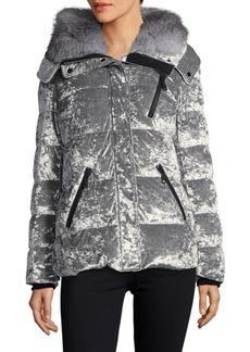 Andrew Marc Fox Fur Collar Velvet Puffer Coat