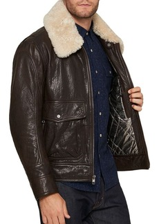 Andrew Marc French Supple Leather Aviator Jacket with Fur