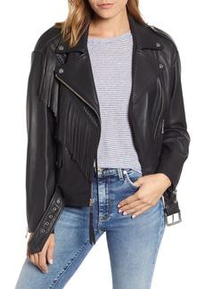 Andrew Marc Fringe Leather Moto Jacket