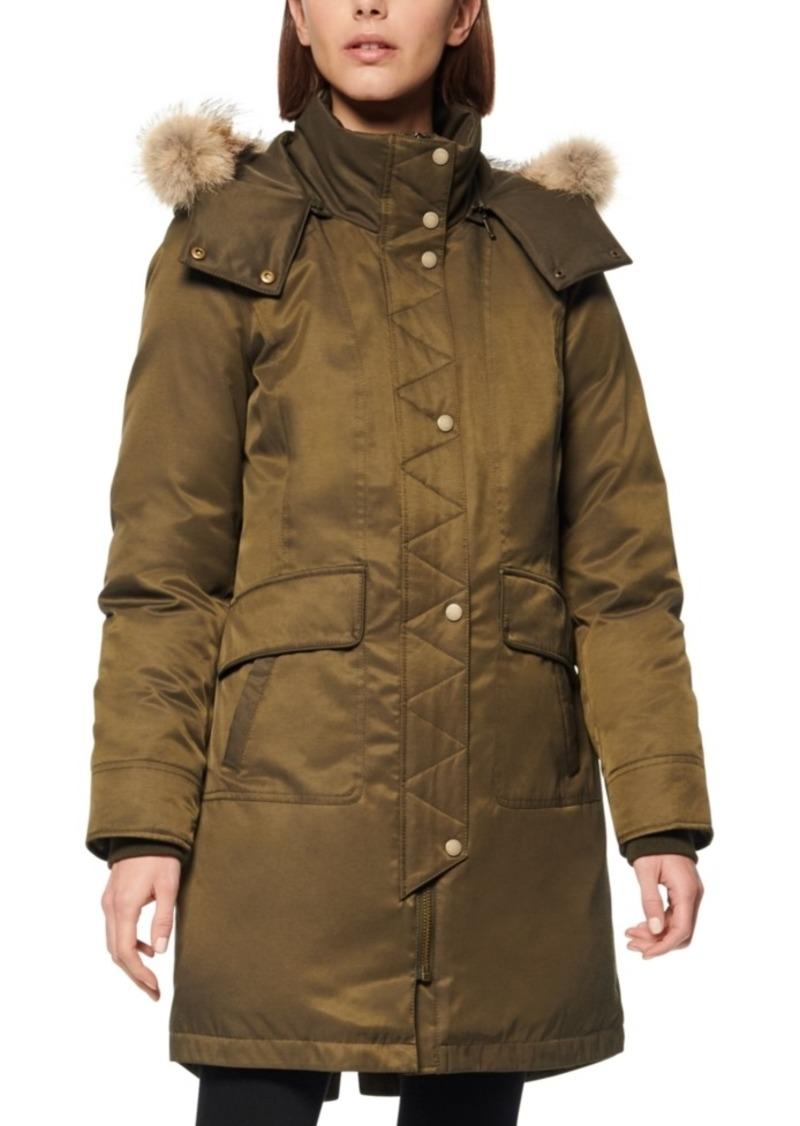 Andrew Marc Fur-Trim Hooded Down Parka Coat