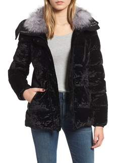 Andrew Marc Genuine Fox Fur Trim Velvet Down Coat