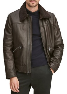 Andrew Marc Kilmer Removable Shearling Collar Leather Bomber Jacket