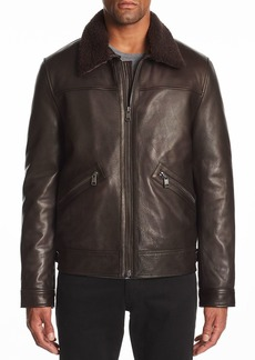 Andrew Marc Kilmer Shearling-Trimmed Leather Jacket