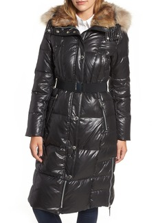 Andrew Marc Lacquer Down Puffer Jacket with Faux Fur Hood