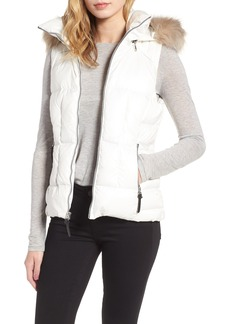 Andrew Marc Lanie Puffer Vest with Faux Fur