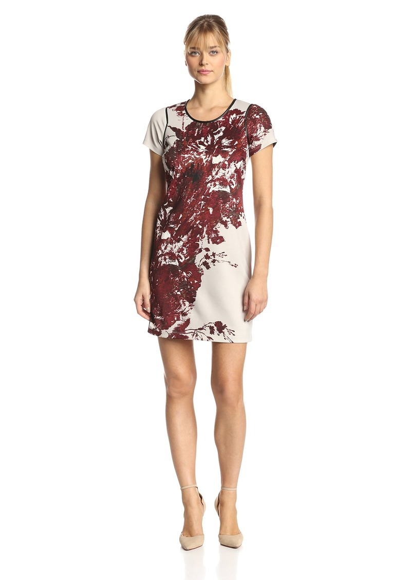 Andrew Marc Marc New York by Women's Short Sleeve Floral Printed Shift Dress