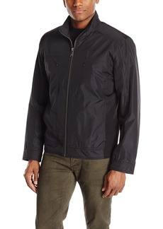 Andrew Marc Men's City Rain Tech Moto Jacket with Neoprene Side Panels  Medium
