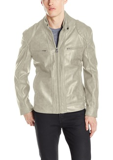 "Andrew Marc Men's Corwin-27.5"" Faux Leather Band Collar Moto Jacket"