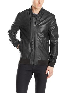 "Andrew Marc Men's Edison-27.25"" Faux Leather Bomber Jacket"