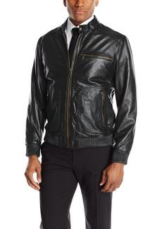 Andrew Marc Men's Leather Bomber Jacket  X-Large