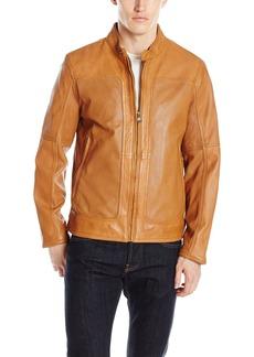 "Andrew Marc Men's Maurice-26.5"" Sheep Band Collar Moto Jacket"