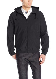 "Andrew Marc Men's Rogers-27"" Crinkle Shell Hooded Bomber Jacket"
