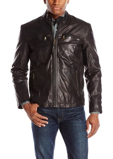 Andrew Marc Men's Vine Lightweight Vintage Leather Moto Jacket