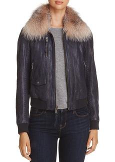 Andrew Marc Naples Fur Trim Leather Bomber Jacket