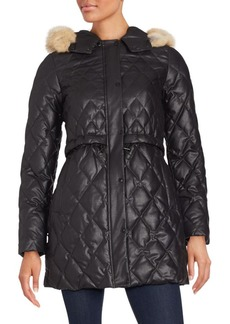 Andrew Marc Natural Coyote Fur Quilted Coat