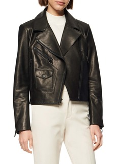 Andrew Marc Pebbled Leather Moto Jacket