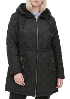 Andrew Marc Plus Faux Fur-Trim Diamond Quilt Parka