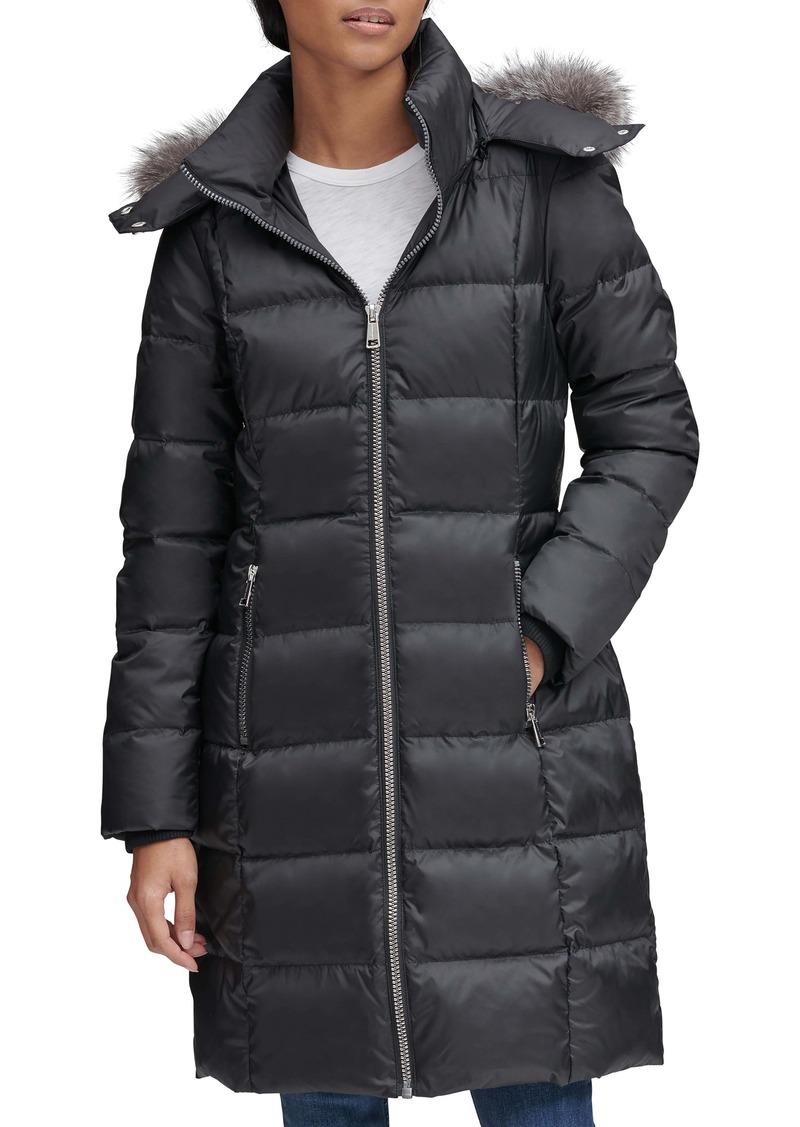 Andrew Marc Renata Genuine Fox Fur Trim Down & Feather Fill Puffer Jacket