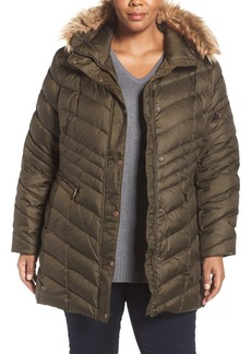 Andrew Marc 'Renee' Chevron Quilted Coat with Faux Fur Trim Hood