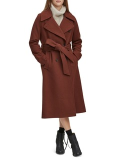 Andrew Marc Sculpted Twill Double-Breasted Button-Front Coat