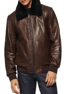Andrew Marc Shearling Collar Bomber Jacket