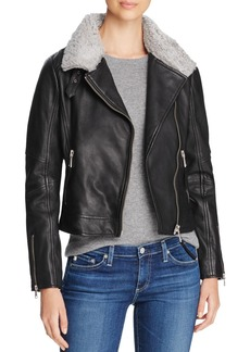 Andrew Marc Shearling Collar Leather Jacket
