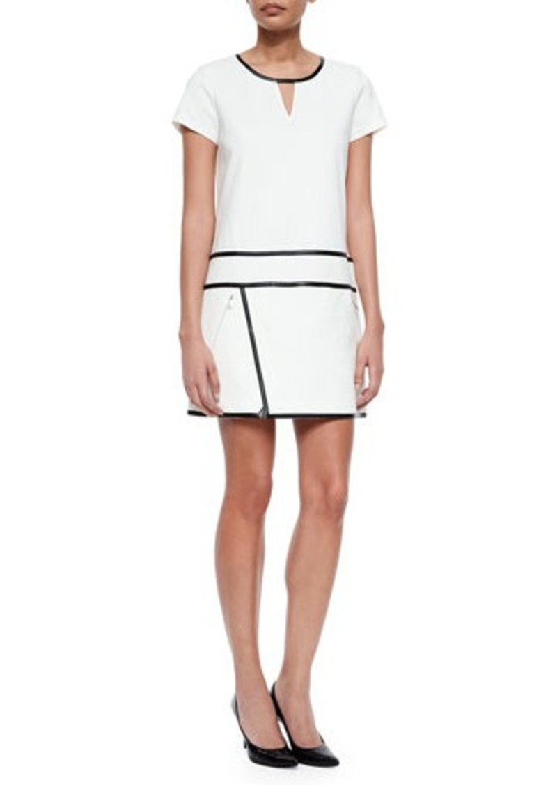 Andrew Marc Short-Sleeve Suiting Dress