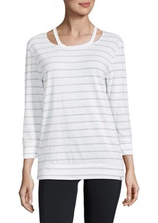 Andrew Marc Striped Cut-Out Three-Quarter Top