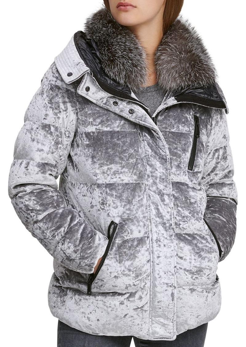 Andrew Marc Vara Fur Trim Velvet Down Coat
