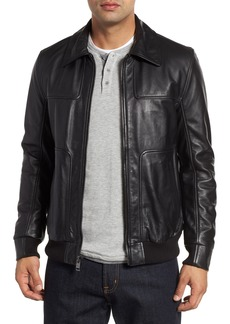 Andrew Marc Vaughn Shirt Collar Leather Bomber Jacket