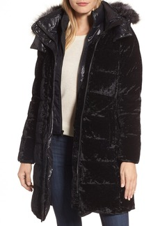 Andrew Marc Velvet Down Jacket with Genuine Fox Fur