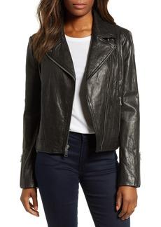 Andrew Marc Washed Nappa Leather Moto Jacket