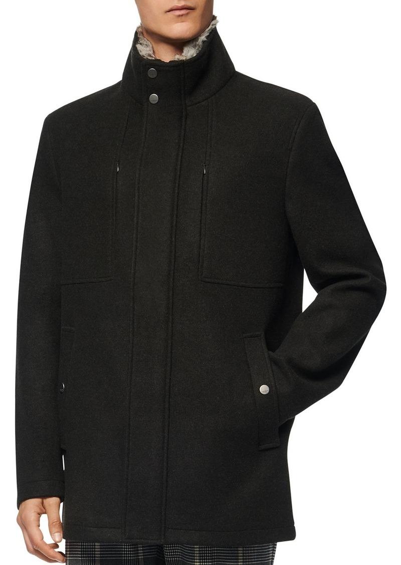 Andrew Marc Westerall Rabbit Fur Collar Coat