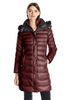 Andrew Marc Women's Down Coat with Inner Bib and Fur Trim Hood