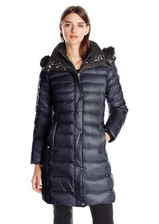 Andrew Marc Women's Down Coat with Inner Bib and Fur Trim Hood