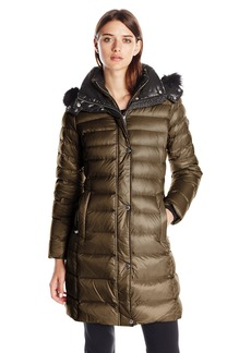 Andrew Marc Women's Down Coat with Inner Bib and Fur Trim Hood  mall