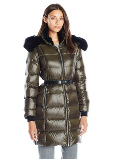 Andrew Marc Women's Down Coat with Leather Belt