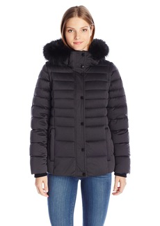 Andrew Marc Women's Kelly Down Coat with Storm Cuffs and Removable Dyed Fox Fur Collar  XS