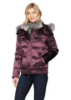 Andrew Marc Women's Lillie Luxe Shine Down Short Coat with Real Fox Fur