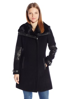 Andrew Marc Women's Mara Asymmetric Wool Coat with Dyed Rabbit Fur Collar and Buckle Detail