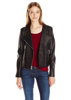 Andrew Marc Women's Riley Zipper Sleeve Leather Jacket  S