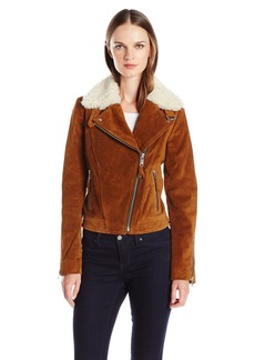 Andrew Marc Women's Sage Leather Jacket with Dyed Sheep Collar with Zipper Sleeve Detail  M