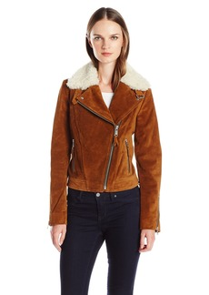 Andrew Marc Women's Sage Leather Jacket with Dyed Sheep Collar with Zipper Sleeve Detail  S