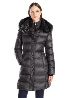 Andrew Marc Women's Skylar Down/Feather Long Coat with Stand Collar and Removable Fox Fur Hood  M