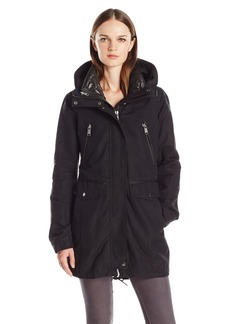 Andrew Marc Women's Stacey Water Repellent Coat with Hide Away Hood  L