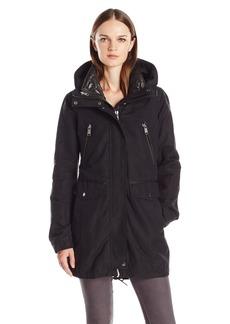 Andrew Marc Women's Stacey Water Repellent Coat With Hide Away Hood  L