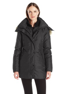 Andrew Marc Women's Sydney 3/4 Length Heavy Jacket with Coyote Fur Lined Hood  M